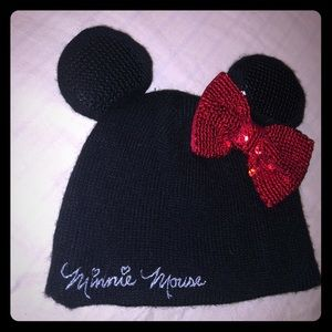Girls Minnie Mouse Knit Beanie Hat w Ears /&Sequins Bow /& Gloves Set